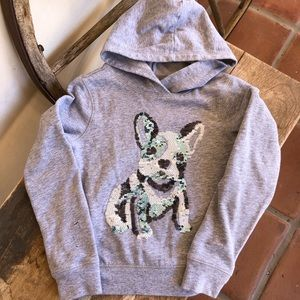OLD NAVY Sequined Bull Dog Puppy Hoodie Jacket 6/7